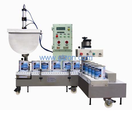 涂料乳胶漆机油防冻液自动灌装机实物照片